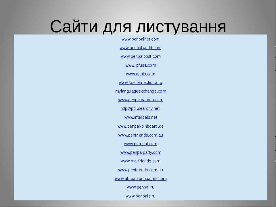 Сайти для листування www.penpalnet.com www.penpalworld.com www.penpalpost.com...