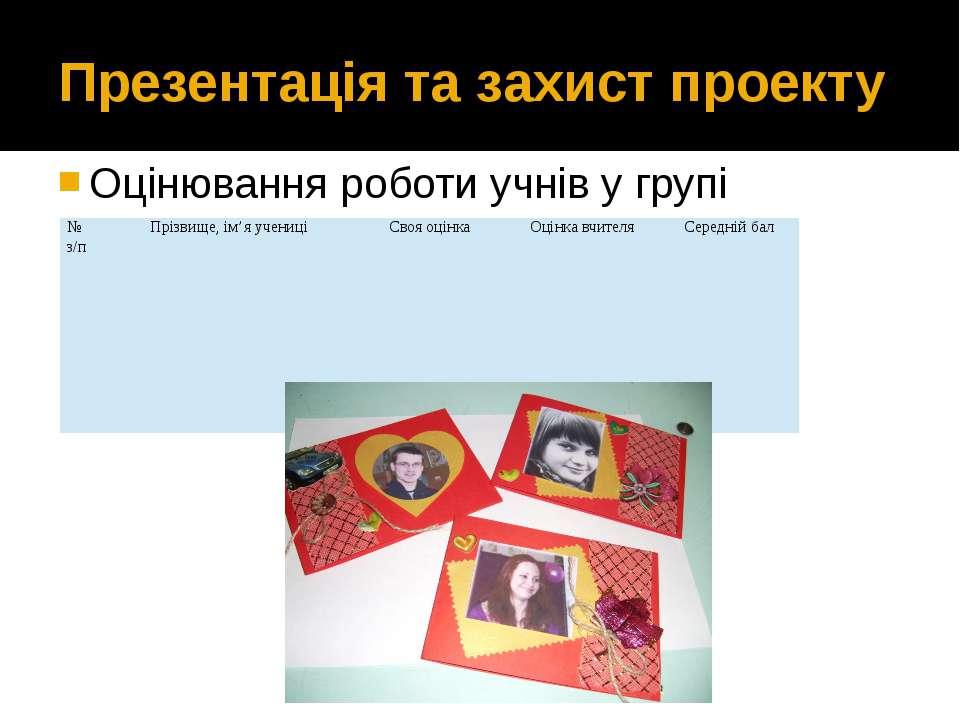 Презентація та захист проекту Оцінювання роботи учнів у групі № з/п Прізвище,...