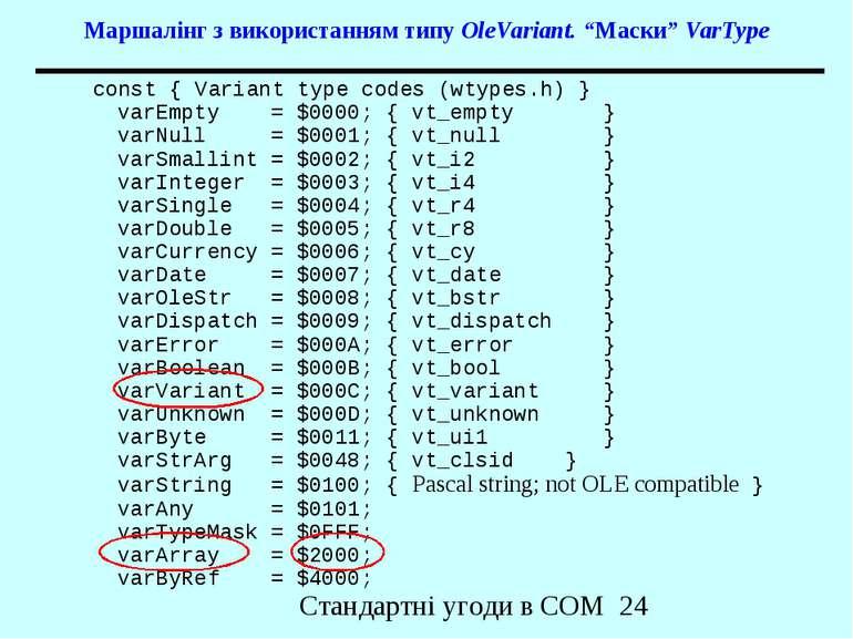 """Маршалінг з використанням типу OleVariant. """"Маски"""" VarType const { Variant ty..."""