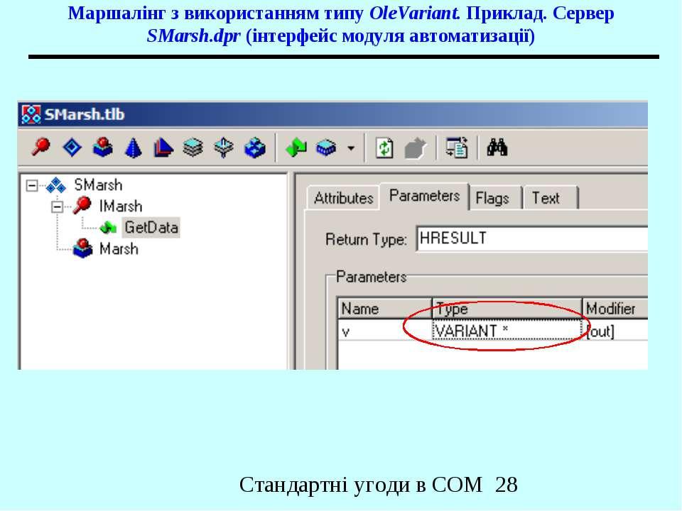 Маршалінг з використанням типу OleVariant. Приклад. Сервер SMarsh.dpr (інтерф...
