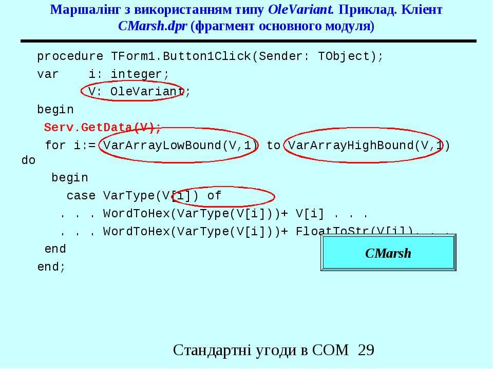 Маршалінг з використанням типу OleVariant. Приклад. Кліент CMarsh.dpr (фрагме...