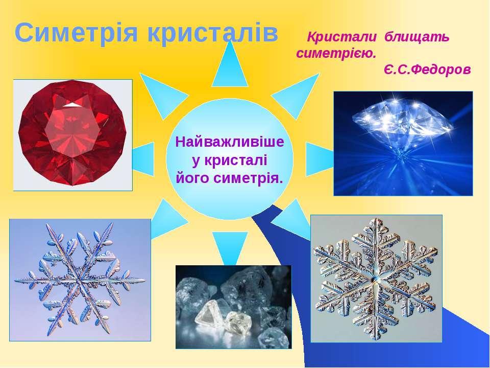 Найважливіше у кристалі його симетрія. Симетрія кристалів Кристали блищать си...