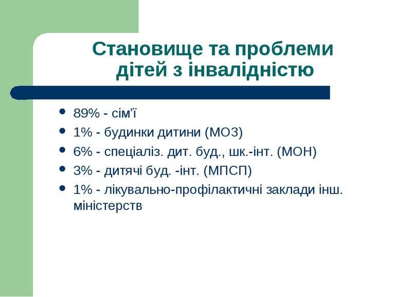 Становище та проблеми дітей з інвалідністю 89% - сім'ї 1% - будинки дитини (М...