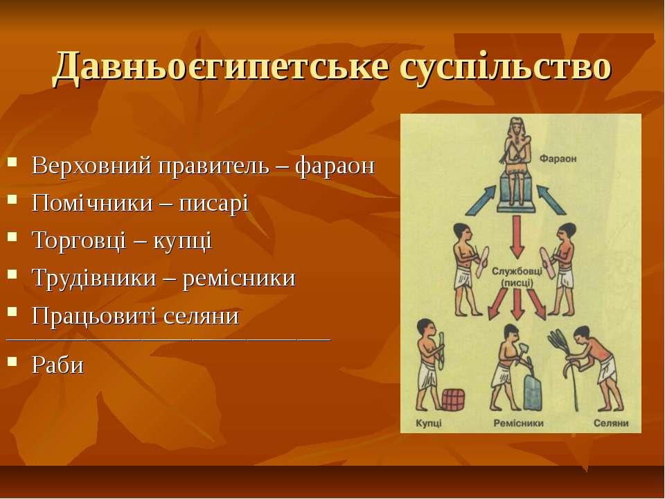 Давньоєгипетське суспільство Верховний правитель – фараон Помічники – писарі ...