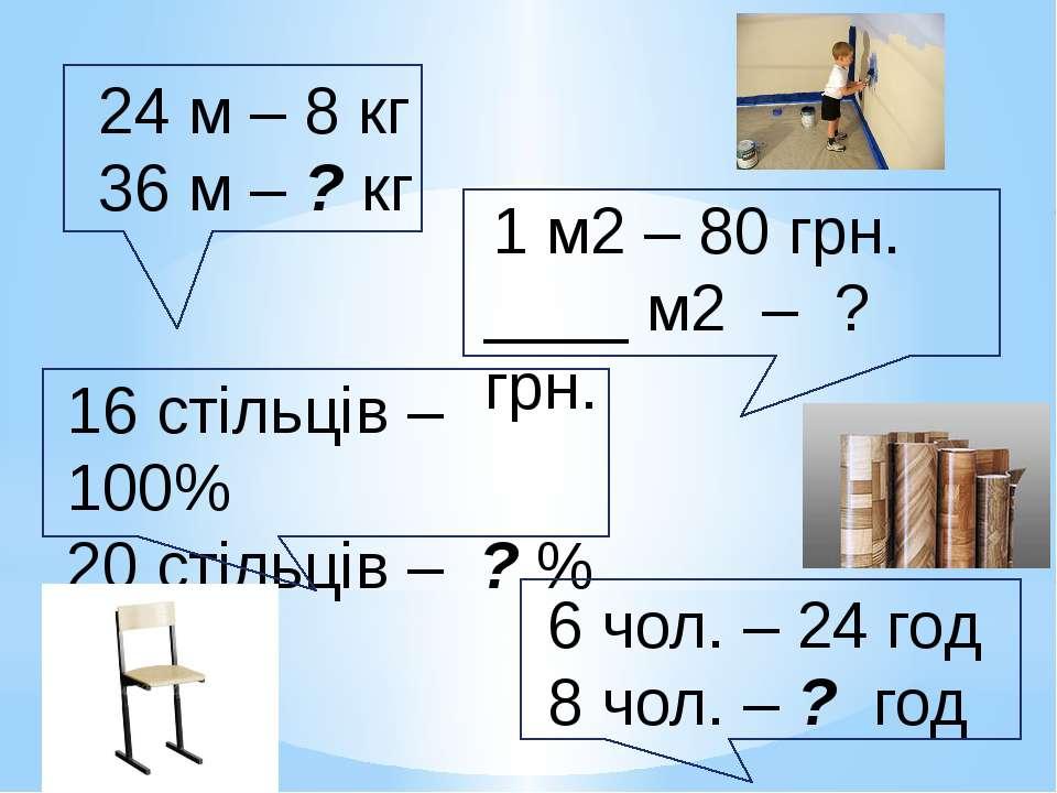 24 м – 8 кг 36 м – ? кг 16 стільців – 100% 20 стільців – ? % 1 м2 – 80 грн. _...