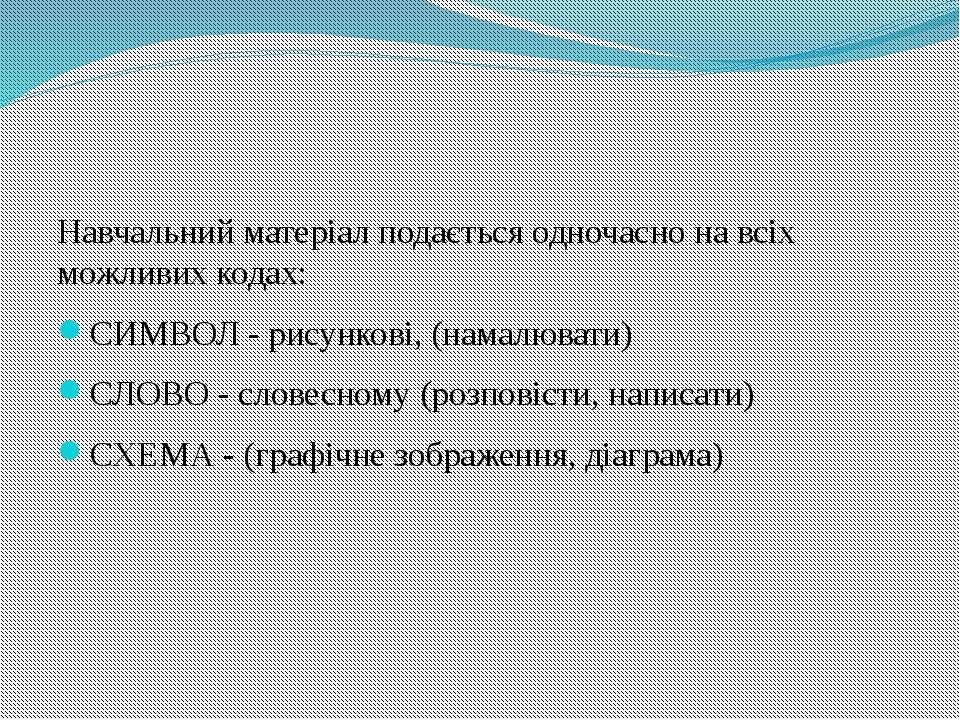 Навчальний матеріал подається одночасно на всіх можливих кодах: СИМВОЛ - рису...