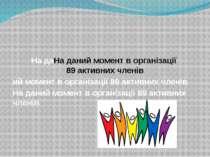 На даНа даний момент в організації 89 активних членів ий момент в організації...