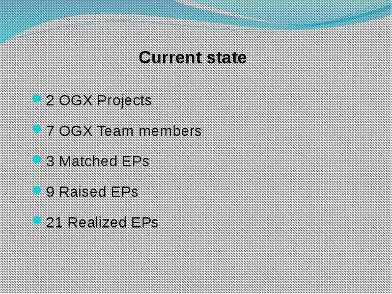 Current state 2 OGX Projects 7 OGX Team members 3 Matched EPs 9 Raised EPs 21...