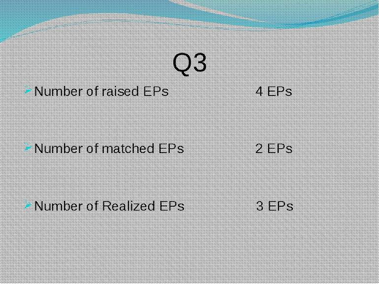 Q3 Number of raised EPs 4 EPs Number of matched EPs 2 EPs Number of Realized ...