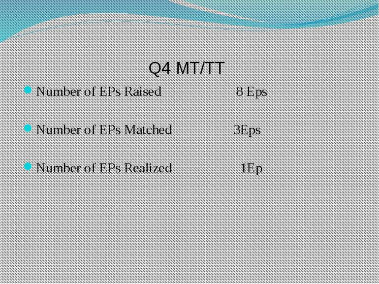Q4 MT/TT Number of EPs Raised 8 Eps Number of EPs Matched 3Eps Number of EPs ...