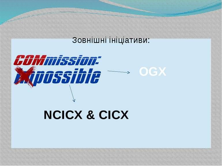 Зовнішні ініціативи: Зовнішні ініціативи: NCICX & CICX OGX