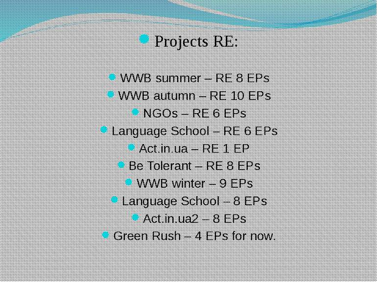 Projects RE: WWB summer – RE 8 EPs WWB autumn – RE 10 EPs NGOs – RE 6 EPs Lan...