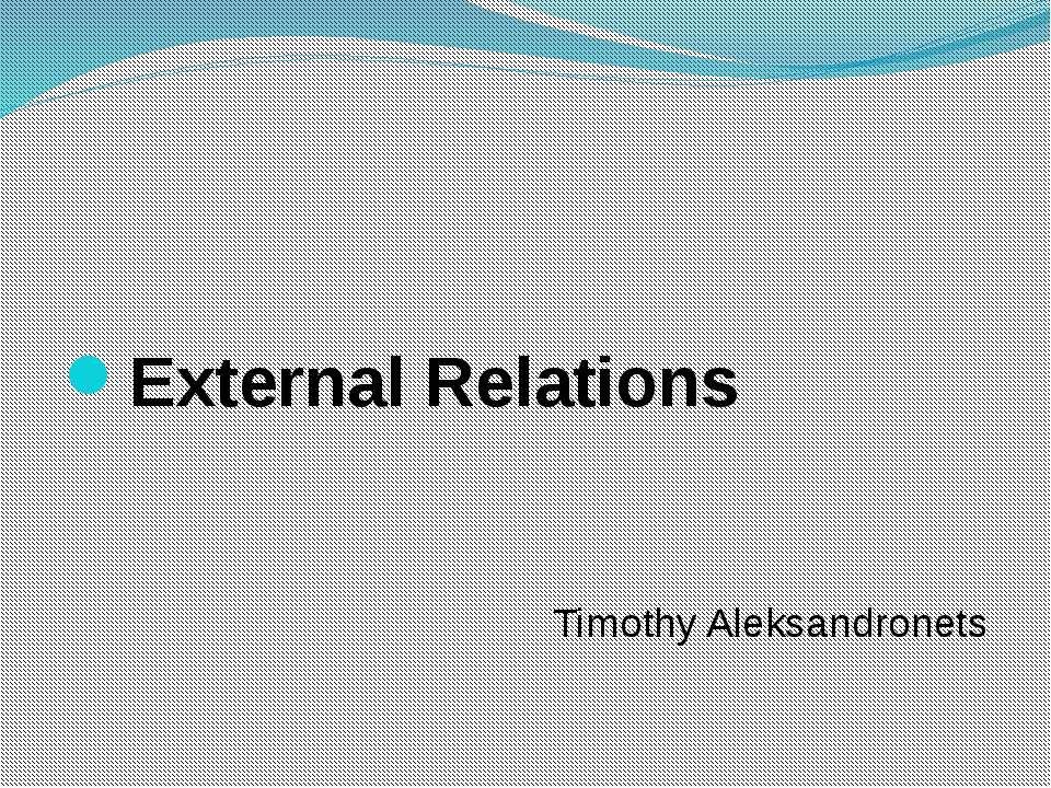 External Relations Timothy Aleksandronets