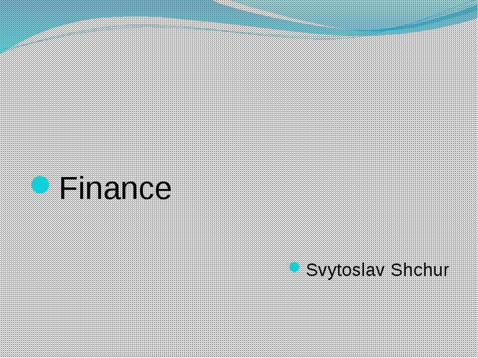 Finance Svytoslav Shchur