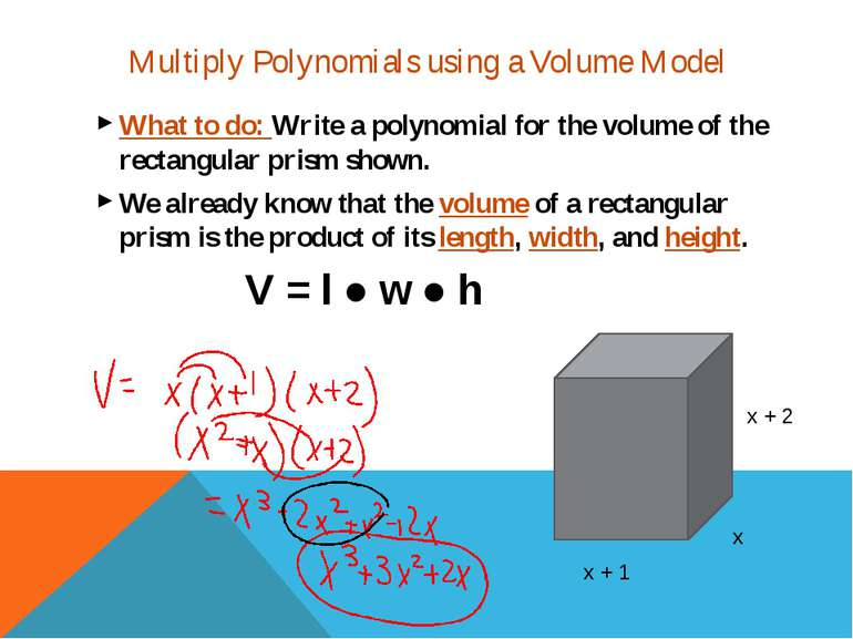 What to do: Write a polynomial for the volume of the rectangular prism shown....