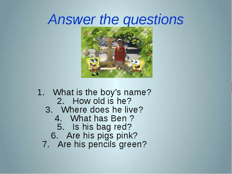 Answer the questions What is the boy's name? How old is he? Where does he liv...
