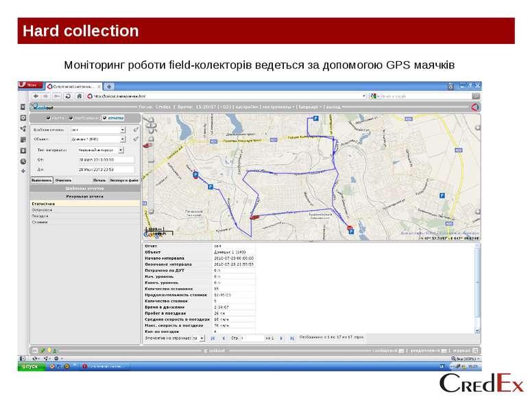 Hard collection Моніторинг роботи field-колекторів ведеться за допомогою GPS ...