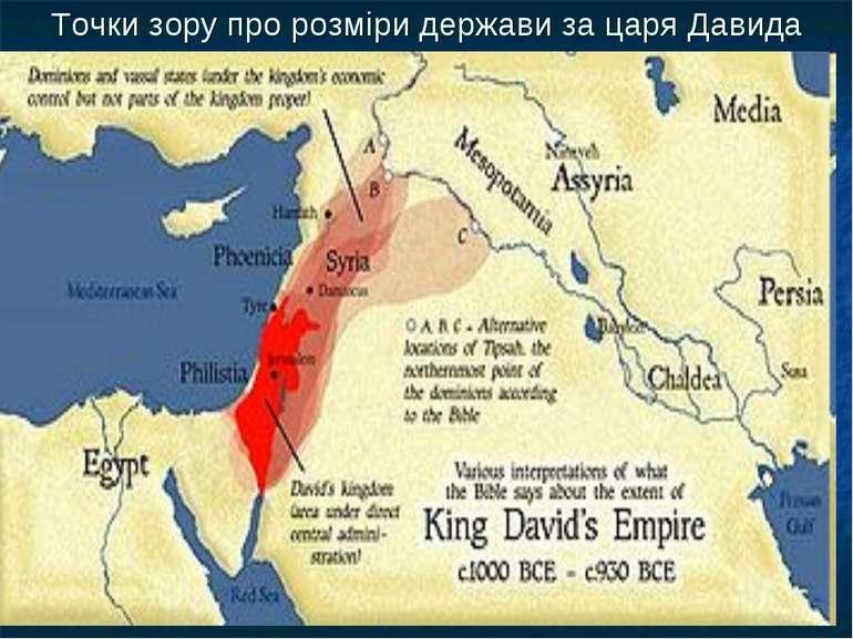 Точки зору про розміри держави за царя Давида