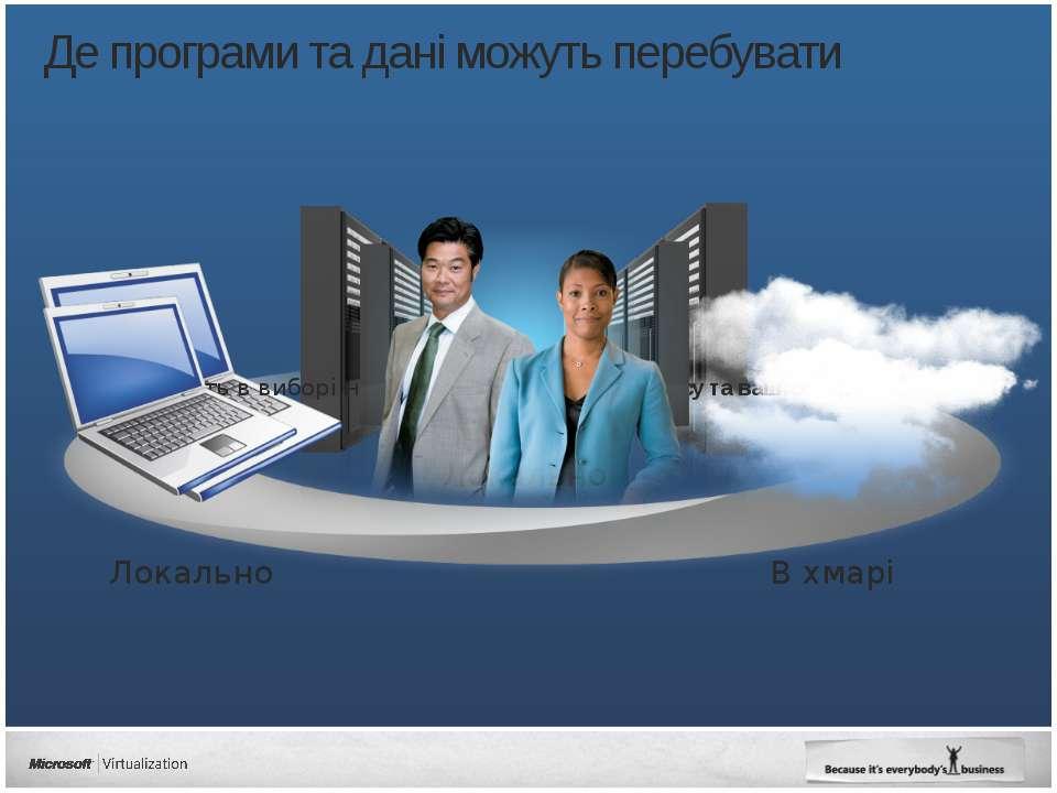 Де програми та дані можуть перебувати Локально В хмарі Локально Гнучкість в в...