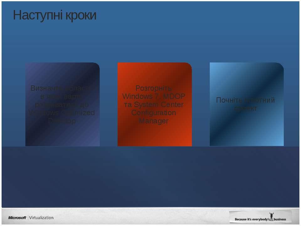 Наступні кроки Почніть пілотний проект Розгорніть Windows 7, MDOP та System C...