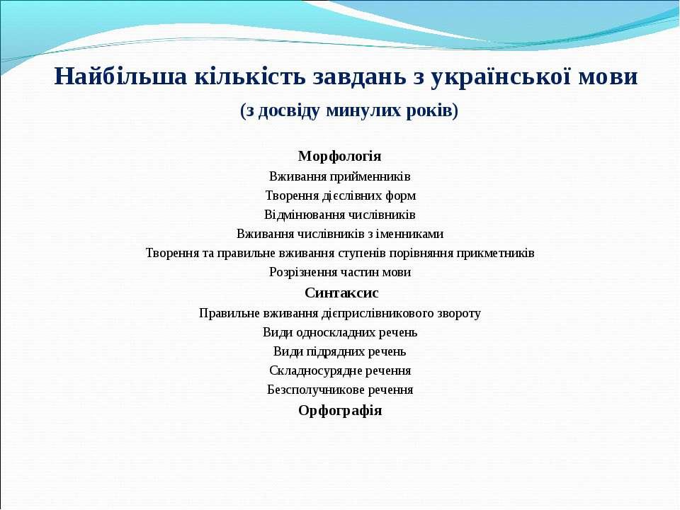 Найбільша кількість завдань з української мови (з досвіду минулих років) Морф...