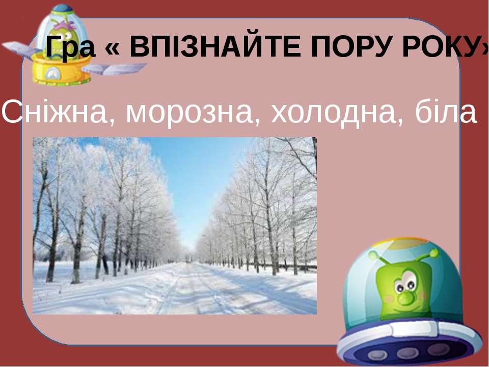 Гра « ВПІЗНАЙТЕ ПОРУ РОКУ» Сніжна, морозна, холодна, біла