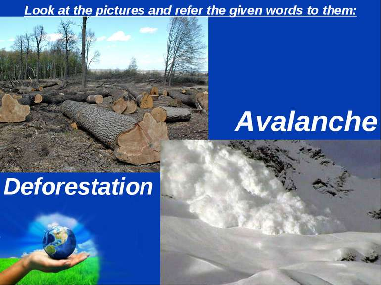 Look at the pictures and refer the given words to them: Deforestation Avalanc...