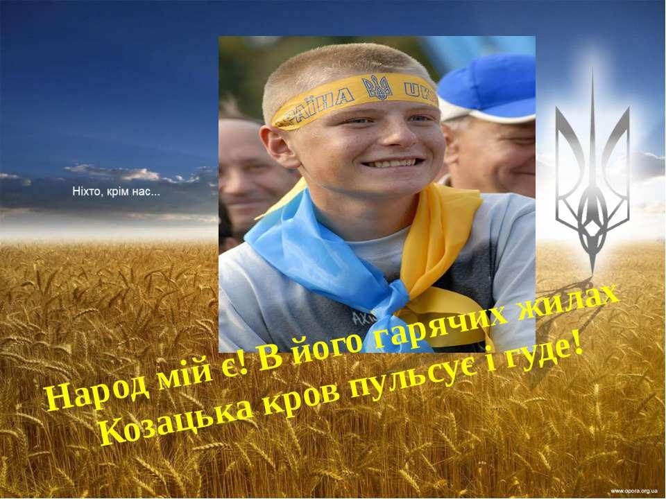 Народ мій є! В його гарячих жилах Козацька кров пульсує і гуде!