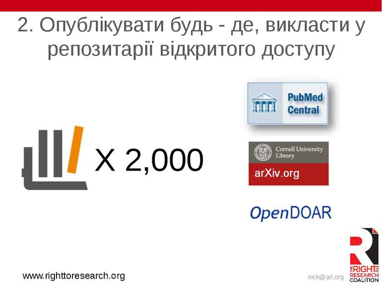 www.righttoresearch.org X 2,000 2. Опублікувати будь - де, викласти у репозит...