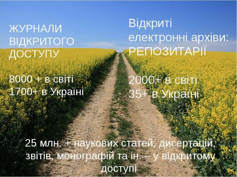 ЖУРНАЛИ ВІДКРИТОГО ДОСТУПУ 8000 + в світі 1700+ в Україні Відкриті електронні...
