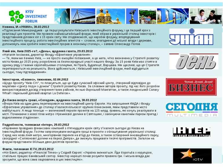 Новина, ІА «УНІАН», 30.03.2012 «ПідписанняМеморандумів-цепершірезультатиКиївс...