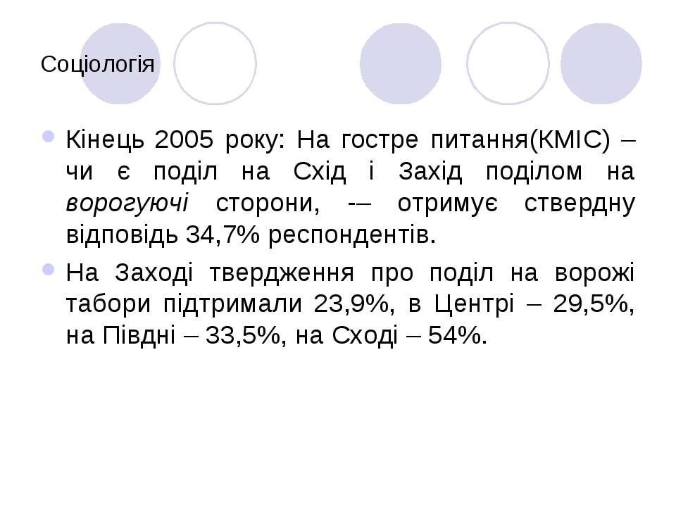 Соціологія Кінець 2005 року: На гостре питання(КМІС) – чи є поділ на Схід і З...