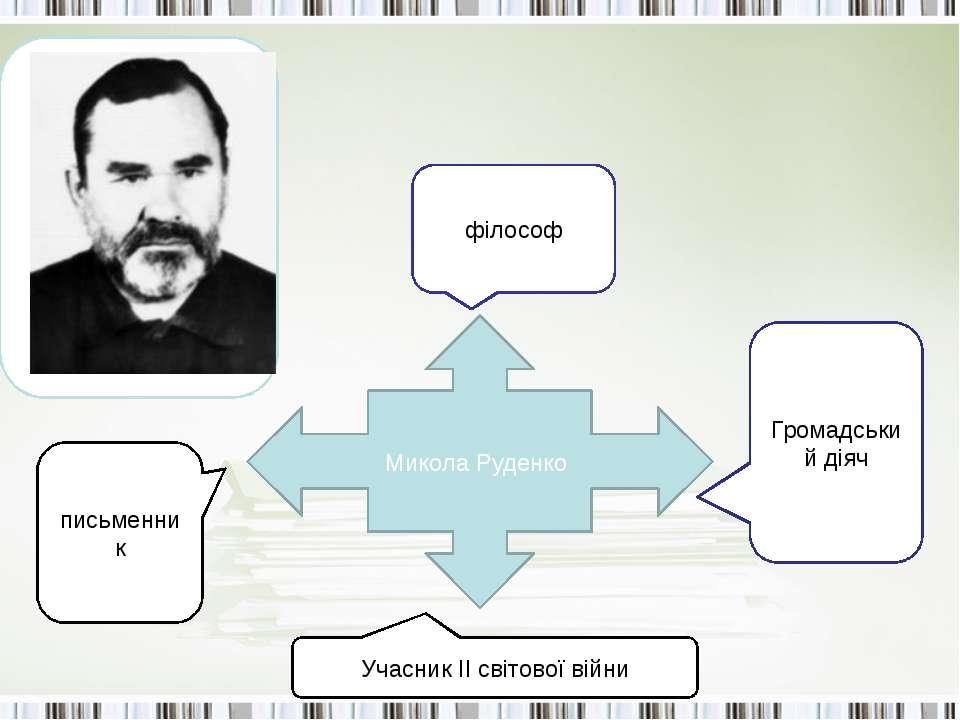 Микола Руденко філософ письменник Громадський діяч Учасник ІІ світової війни