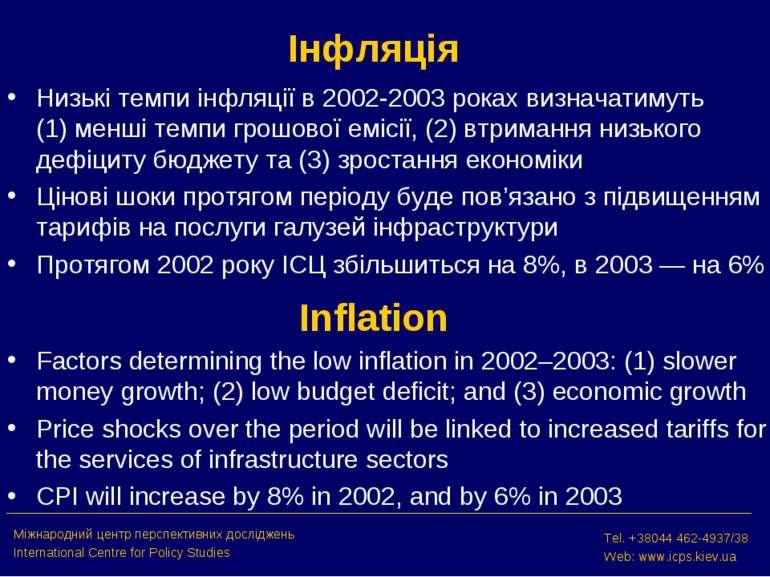 Інфляція Низькі темпи інфляції в 2002-2003 роках визначатимуть (1) менші темп...