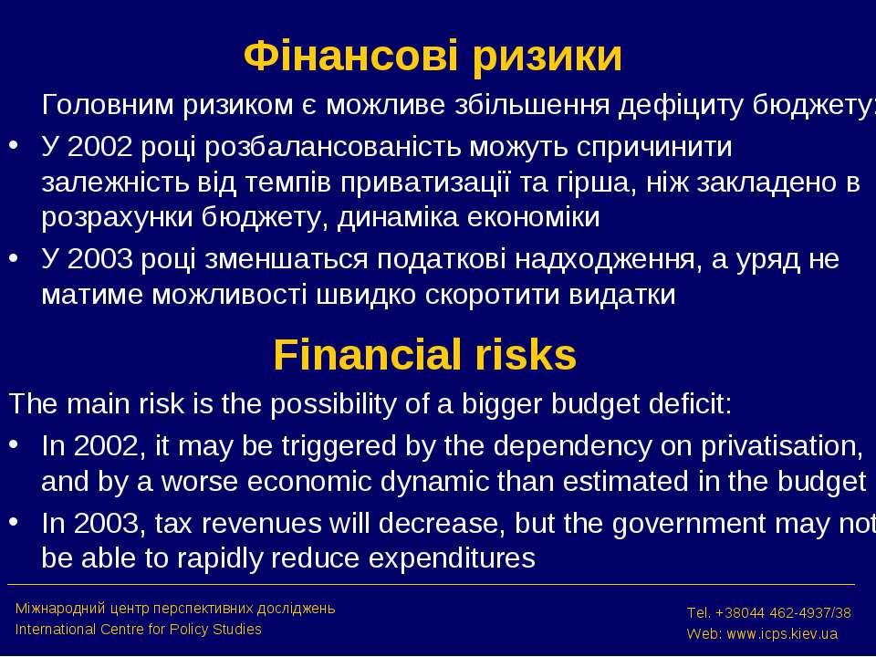 Фінансові ризики Головним ризиком є можливе збільшення дефіциту бюджету: У 20...