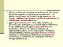 Коли слов'янські племена розпалися на три групи, їх мовна єдність поступово т...