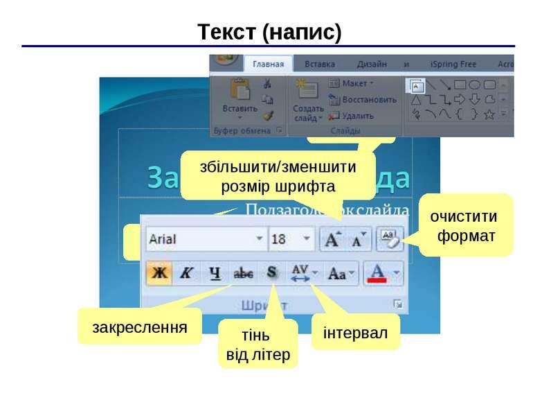 Текст (напис) ЛКМ ЛКМ закреслення тінь від літер інтервал очистити формат збі...