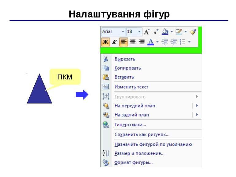 Налаштування фігур ПКМ