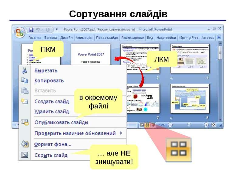 Показ презентації F5 – з початку Shift+F5 – с поточного слайда ПКМ Вказівник