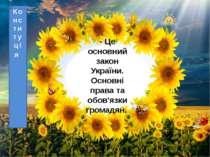 - Це основний закон України. Основні права та обов'язки громадян. Конституція...