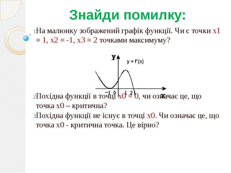 Знайди помилку: На малюнку зображений графік функції. Чи є точки x1 = 1, x2 =...