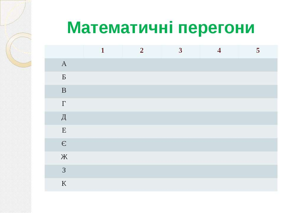 Математичні перегони 1 2 3 4 5 А Б В Г Д Е Є Ж З К