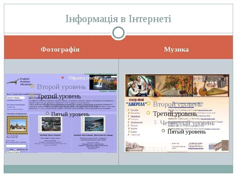Фотографія Музика Інформація в Інтернеті