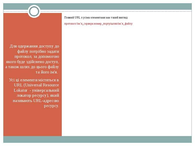 Для одержання доступу до файлу потрібно задати протокол, за допомогою якого б...