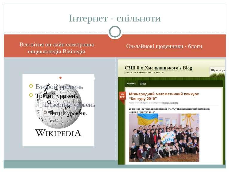 Інтернет - спільноти Всесвітня он-лайн електронна енциклопедія Вікіпедія Он-л...