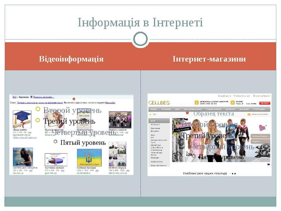 Відеоінформація Інтернет-магазини Інформація в Інтернеті