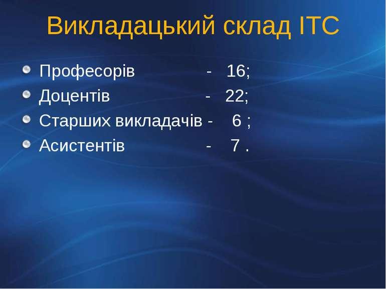 Викладацький склад ІТС Професорів - 16; Доцентів - 22; Старших викладачів - 6...