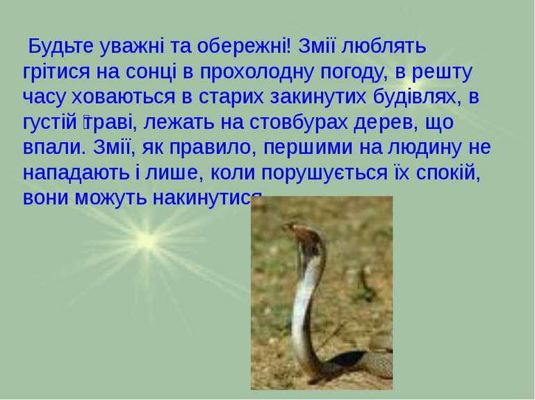 Будьте уважні та обережні! Змії люблять грітися на сонці в прохолодну погоду,...