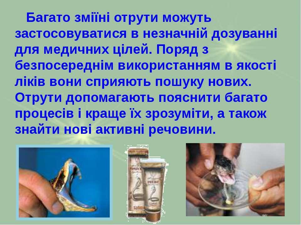 Багато зміїні отрути можуть застосовуватися в незначній дозуванні для медични...