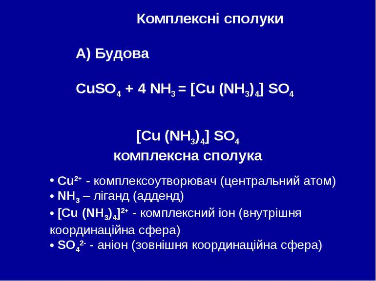 Комплексні сполуки А) Будова CuSO4 + 4 NH3 = [Cu (NH3)4] SO4 [Cu (NH3)4] SO4 ...